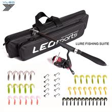 YLEO Portable Fishing Lure Rod Reel Combo Set 1.3-1.6m Telescopic Spinning Bag for Carp Travel Tackle Kit