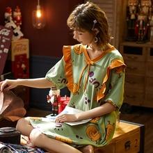 BZEL nouvelles chemises de nuit pour femmes belle chemise de nuit élégant Homewear coton vêtements de nuit dames poupée col Pyjama grande taille Pijama M 4XL