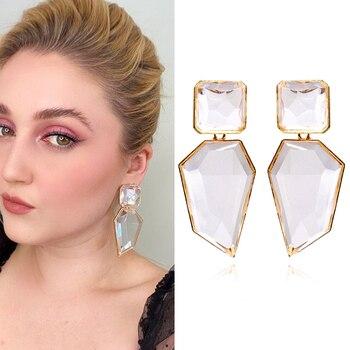 2020 ZA New Hot Fashion Earring Gold Color Resin Irregular Drop Earrings for Women Brincos Earing  Wedding Jewelry Girl Gift
