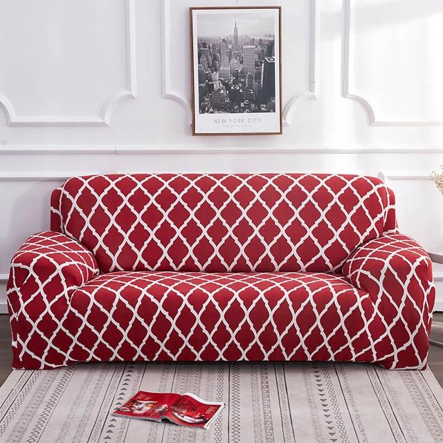 Фото геометрический эластичный чехол для дивана на стул современный цена