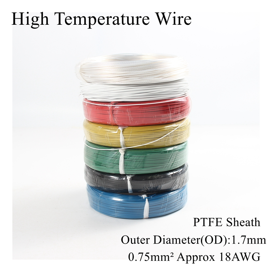18AWG <font><b>0.75</b></font> Square High Temperature Wire PTFE Insulation <font><b>Cable</b></font> Resistant Electricity Tinned Tin Silver Plated Copper Wires 0.75mm image