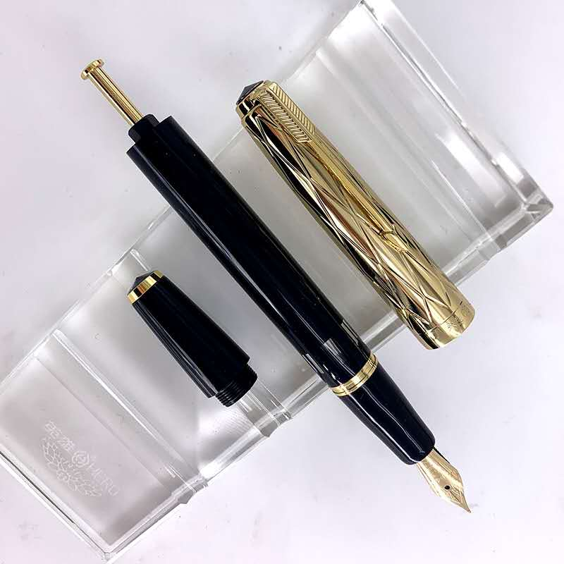 Wing Sung 601A Piston Vacumatic Fountain Pen Black Ink Pen 14K Gold Expose Nib Stationery Office school supplies Writing