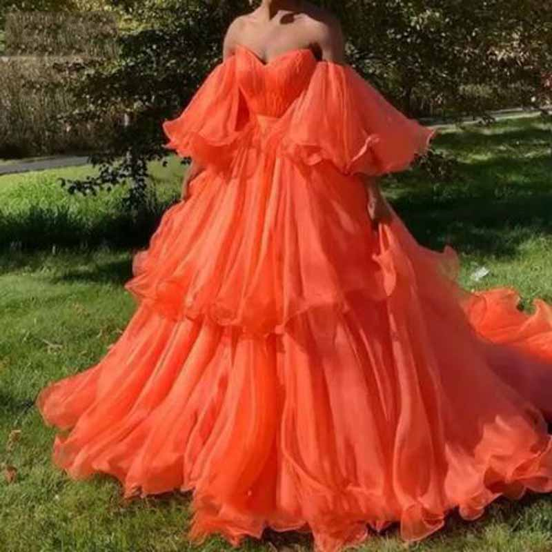 Off The Shopulder Ruched Ruffles Pleat Ball Gown   Prom     Dresses   Simple Sweetheart Neck Long Sleeve Floor Length vestidos de gala