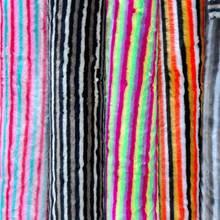 Искусственный мех, цветная полоска, имитация кролика, лисы, радужная шерсть, четыре цвета, жаккардовый цвет, плюш, разноцветный, искусственный мех, ткань