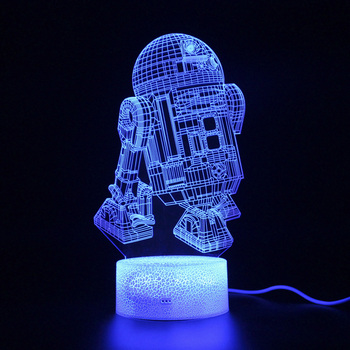 Star Wars R2D2 Projection Lamp Children Gifts Bedroom Remote Control Nightlight 3d Table Sleep Light Decoration