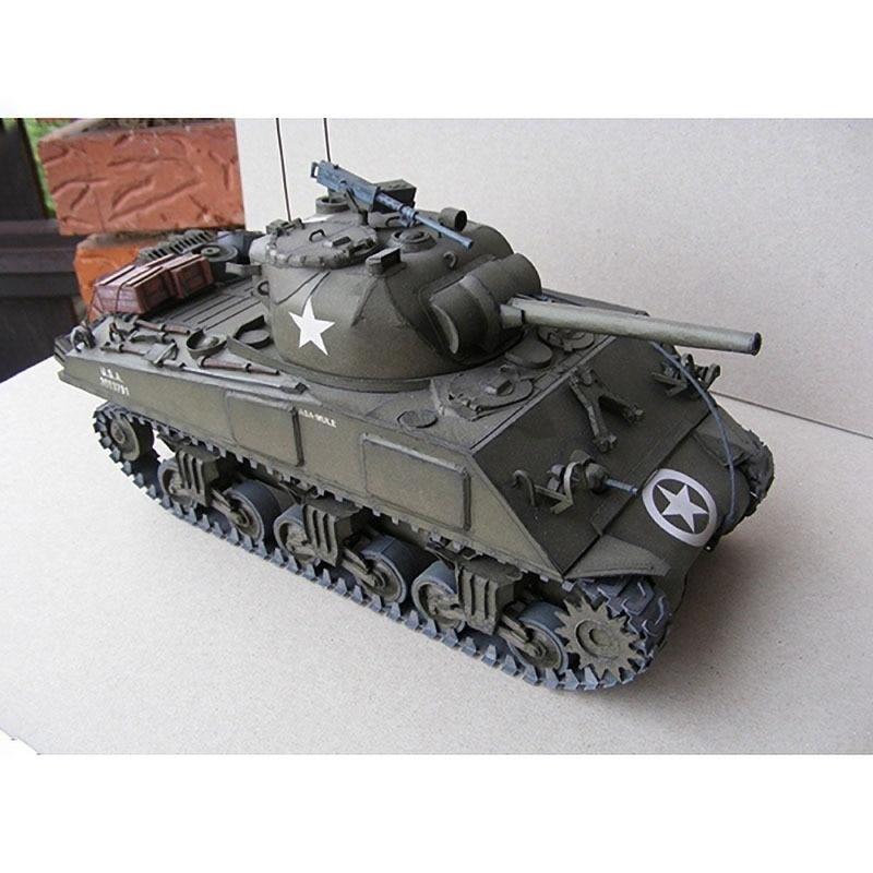 1:25 U.S. Sherman M4A3 Medium Tank Emulational DIY 3D Paper Card Model Building Set Educational Military Model Construction Toys