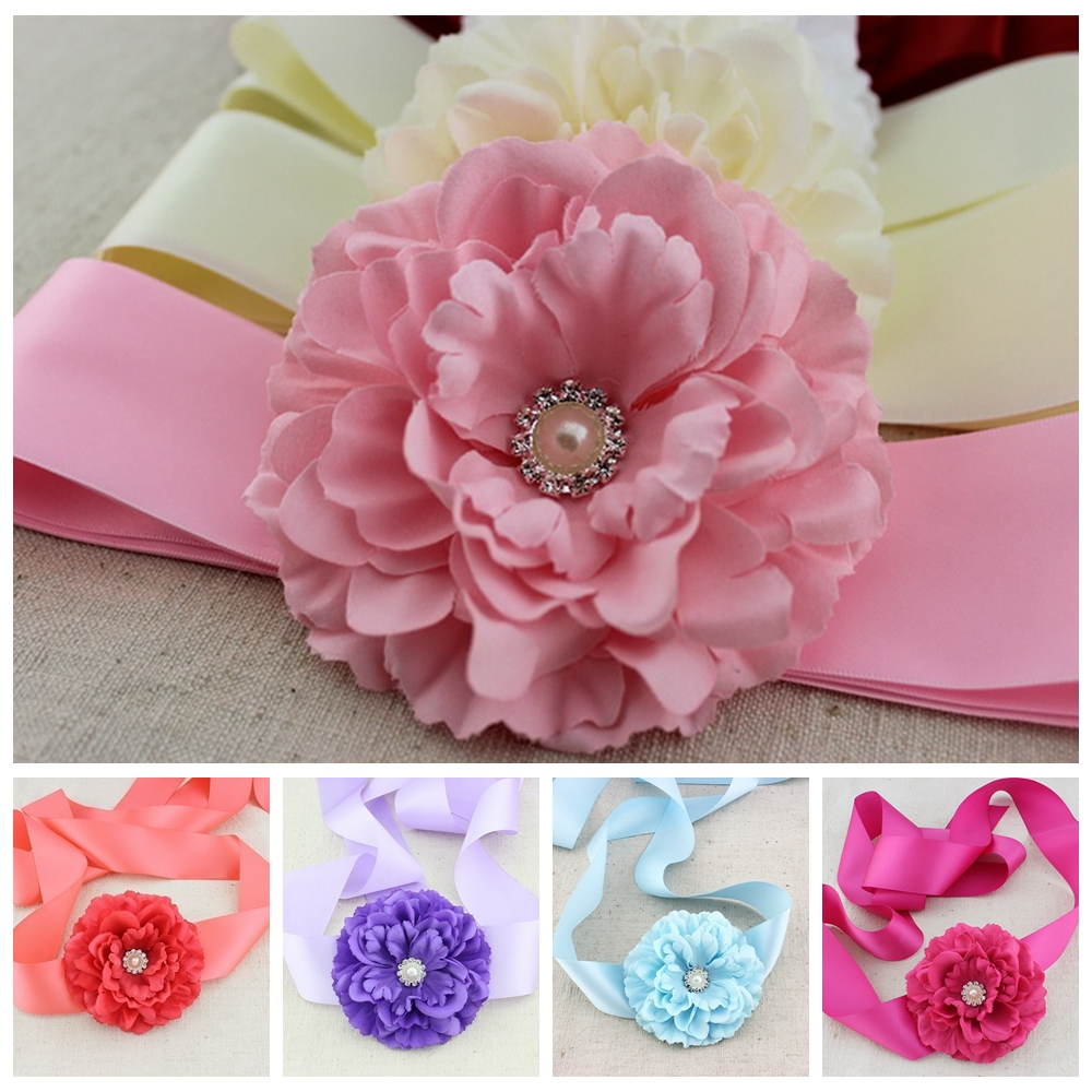 Fashion Fabric Peony Flower With Pearl Button Center Sashes Women's Belt Maternity Sash Girl Belt Waistband