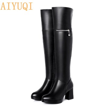 AIYUQI  2020 new genuine leather over knee boots womens big size 41 42 43 women Knight boots sexy ducky knee high boots women
