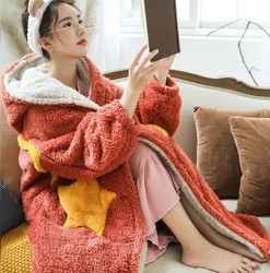 Oversized Hoodie Sweatshirt Fleece Deken Met Mouwen Winter Jas Vrouwen Kapmantel Pluche Giant Tv Deken Hoodies Vrouwen
