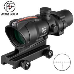ACOG 4X32 Real Fiber Optics Hunting Riflescope Etched Reticle Tactical Optical Sight Dot Illuminated Chevron Glass Red
