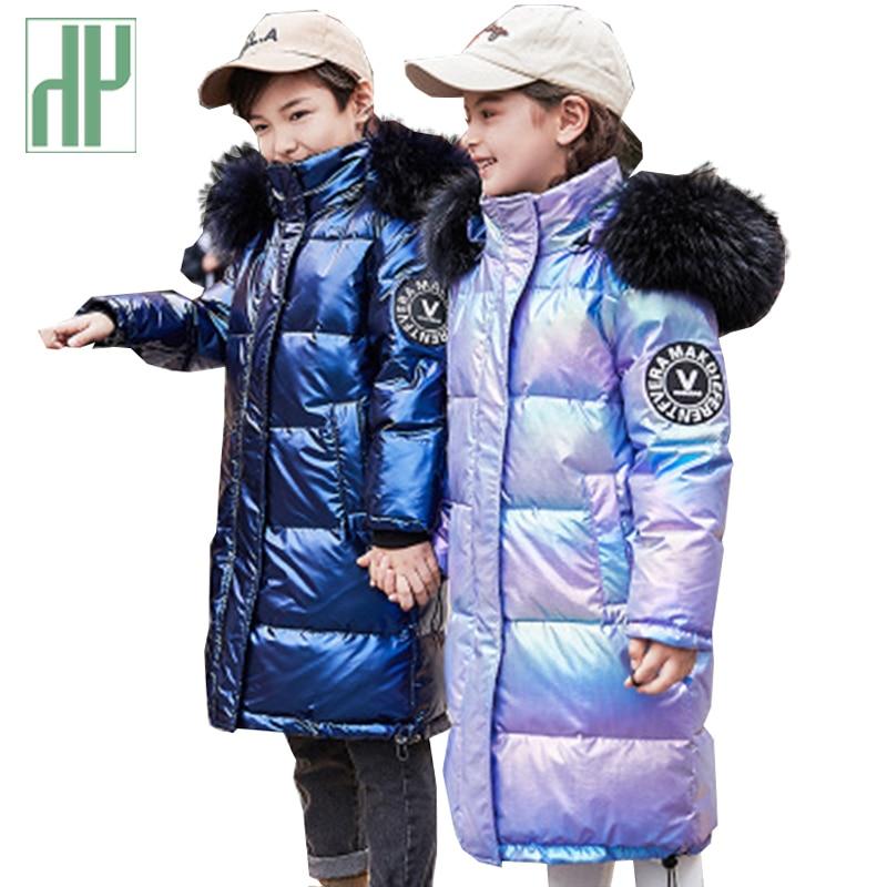 -30 Russian Boys Winter Jacket For Girls Down Kid Teenager Outerwear Waterproof Coat Parka Children Real Fur Clothing Snowsuit