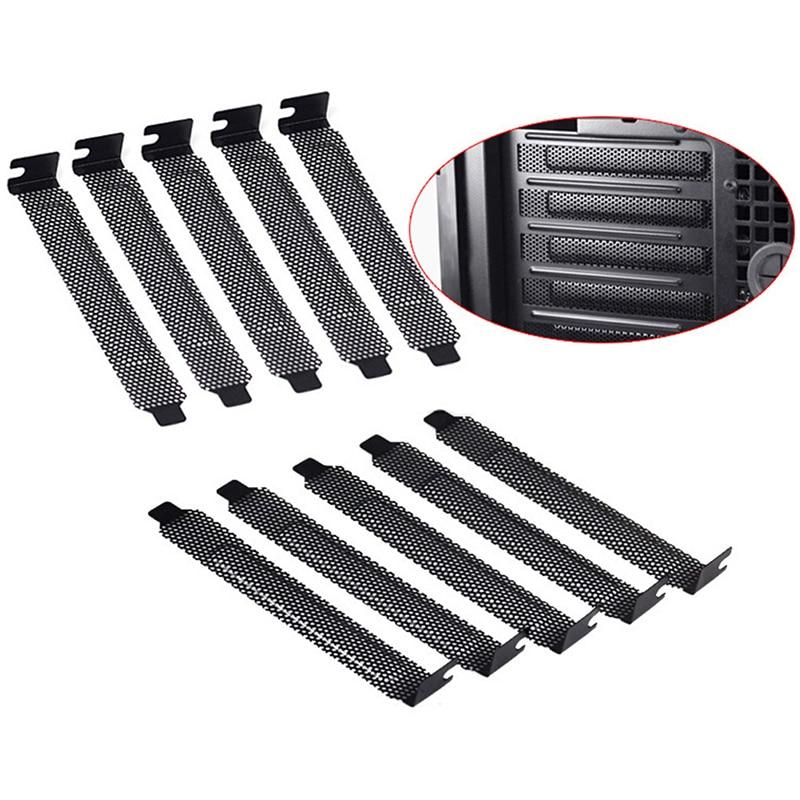 10 unids/lote de filtro de polvo de acero duro negro Placa de sellado cubierta de ranura PCI Conectores y cables de ordenador    -
