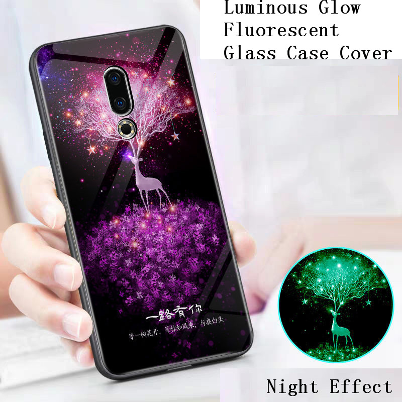 Luminous Tempered Glass <font><b>Case</b></font> For <font><b>Meizu</b></font> M5 M6 Note 8 9 M5 M5S <font><b>M6S</b></font> 16 16th Plus 16XS 16S Pro X8 V8 E2 E3 <font><b>Case</b></font> Cover Glow Phone Bag image