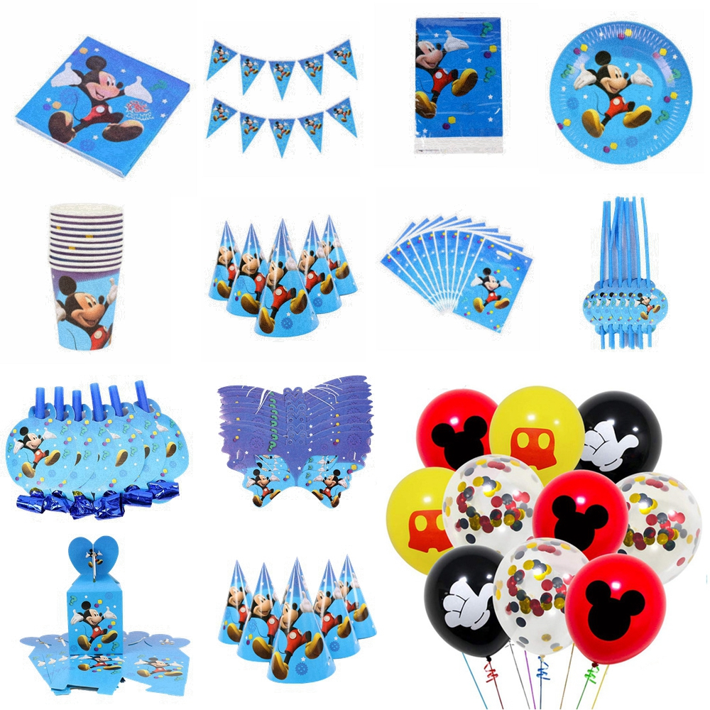 Mickey Mouse Birthday Party Decoration Supplies Party Balloon Set Disposable Tableware Supplies Children's Holiday Kids Toys