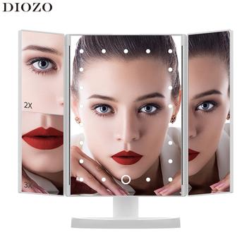 Ekran dotykowy LED 22 lustro do makijażu z oświetleniem stół do komputera makijaż 1X 2X 3X lustra powiększające Vanity 3 składane regulowane lustro tanie i dobre opinie DIOZO Wyposażone CN (pochodzenie) Plastic Lusterko do makijażu