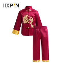 Kids Traditional Chinese Embroidery Dragon Kung Fu Outfit Tang Suit Satin for Boys tai chi Martial Art Shaolin Wing Chun Costume