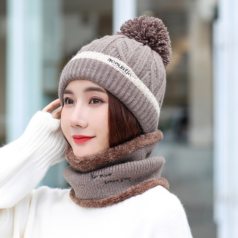 Green Color Winter Hat Scarf Gloves Set For Girls Women Kitted Thicken Warm Plus Velvet Hat Girl Fashion Soft Solid Female Cap