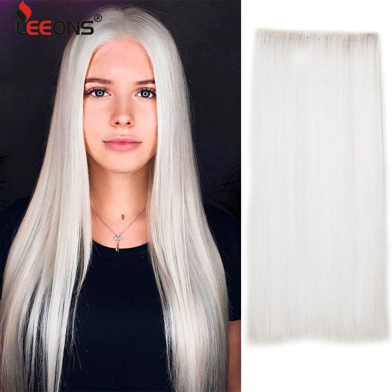 Leeons 5 Clip In estensione dei capelli Clip sintetica lunga diritta In estensione dei capelli s per capelli neri lunghi lisci finti