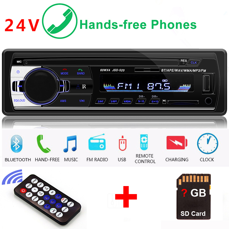 24V <font><b>Car</b></font> radio Auto <font><b>1</b></font> <font><b>Din</b></font> Bluetooth Stereo iso <font><b>Audio</b></font> SD MP3 Player Music Para Auto AUX FM Carro Samochodowe Automotivo Coche image