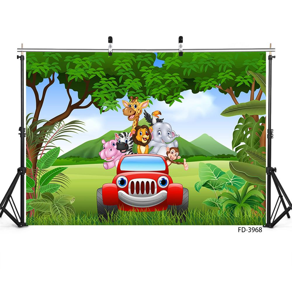 CdHBH 9x6ft Custom Safari Park Photo Background Kids 1st 2nd 3rd Birthday Party Baby Shower Decor Wallpaper Cartoon Zoo Forest Jungle Wild Animals Customizable Backdrop Photo Studio Props