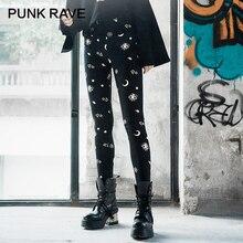 Панк рейв девушки Готический Луна комикс печатных облегающие леггинсы модные повседневные женские леггинсы брюки