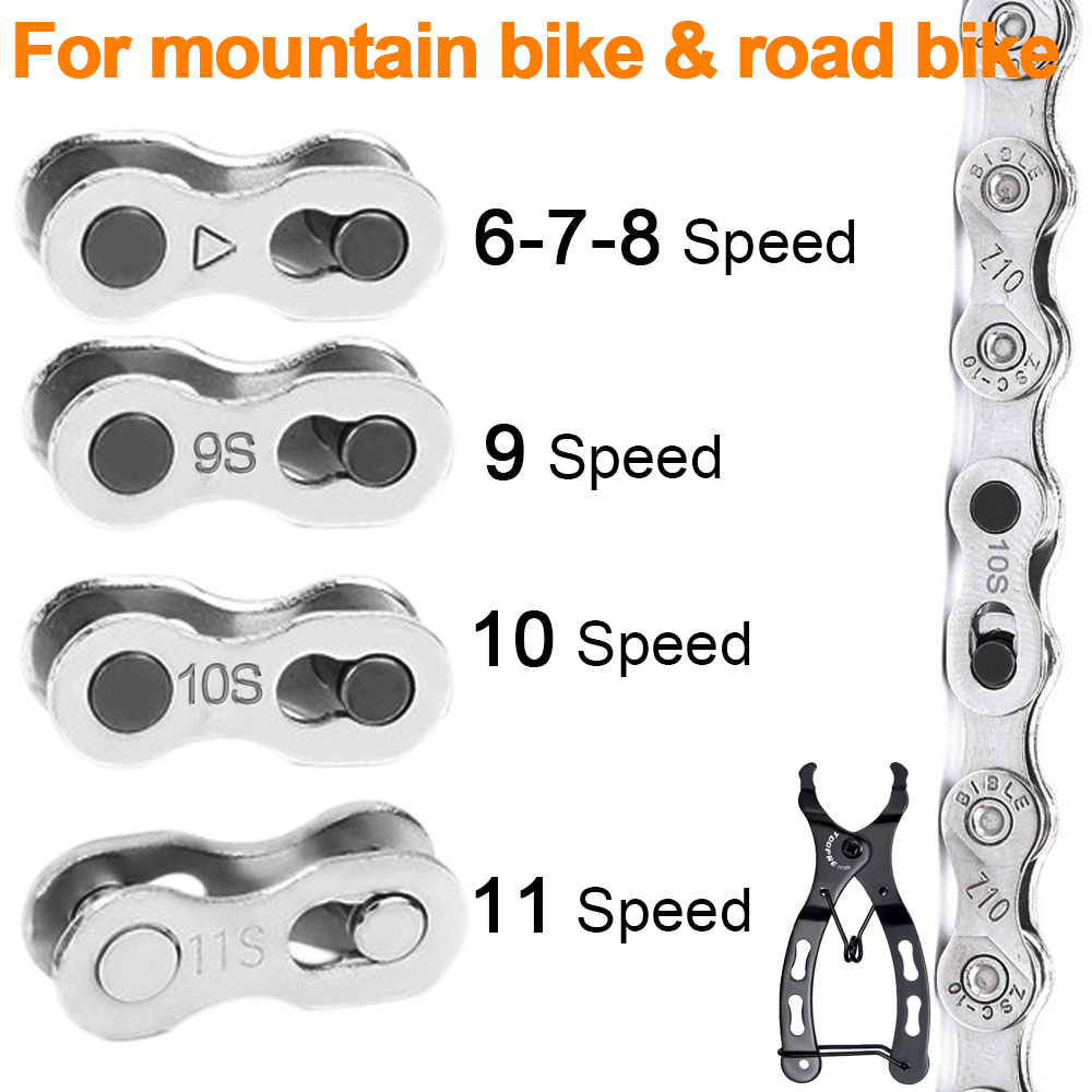 Straightforward 6/7/8/9/10/11 Speed Bicycle Chain Connector Quick Link Lock Road Bike Joint Magic Buckle Master Bicycle Cycling Part Silver