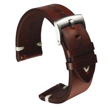 Genuine Leather Watch Strap Black Dark Brown Oil Wax Leather Strap 18mm 20mm 22mm Quick Release Watch Band Belt Handmade Retro uyoung handmade watch strap custom fit the fat sea pa441 watch retro make old ox leather watch belt male