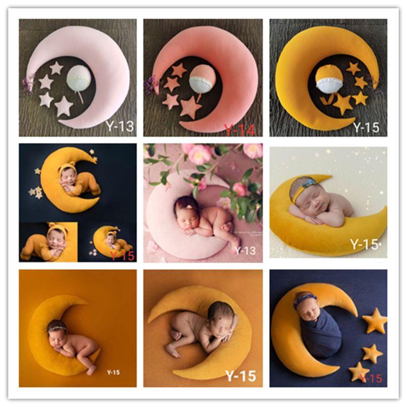 5-6 шт./компл. реквизит для фотосъемки новорожденных аксессуары ребенок позирует Подушка в форме полумесяца + звезды + шляпа студия детский ре...