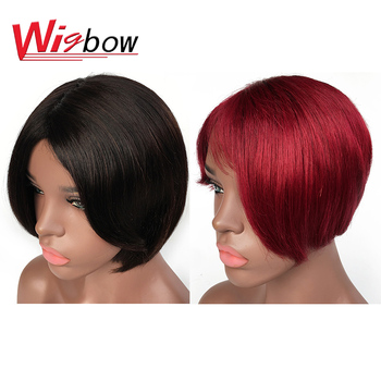 Short Wig With Bangs Human Hair Short Bob Wigs With Fringe Remy Blonde Wig Raw Indian Hair For Black Women Short Pixie Cut Wigs wig with bangs short bob wig brazilian straight human hair wigs with bangs pixie cut wig for black women natural color remy hair