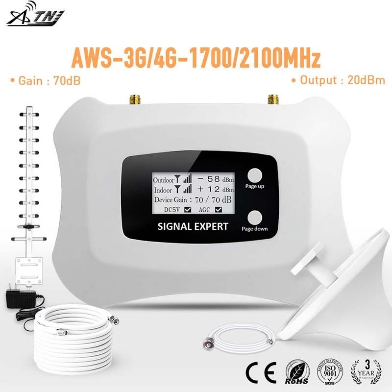 Amplificador de sinal de celular smart, poderoso, 1700mhz, 3g/4g lte, repetidor, impulsionador de sinal de celular, 3g/4g kit repetidor 4g com yagi