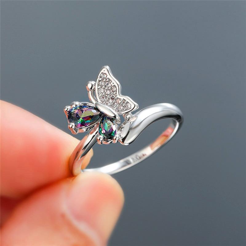 Мистик Радуга Циркон милое кольцо бабочка белое золото многоцветные кристаллы обручальные кольца для женщин обручальные кольца животные ю...
