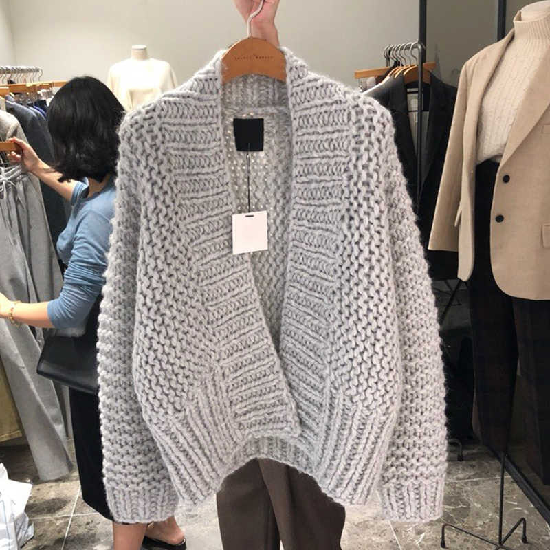 FMFSSOM Autumn Winter Knitted Woolen Hollow Solid Warm Casual Loose Open Stitch Female Women Cardigans Sweater