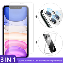 Case + Camera Glass For iphone 12 11 pro max mini Screen Protector Lens Glass On iphone SE2 protective Glass iphone 4.5 6.1 6.7