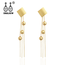 DREJEW Long Tassel Gold Silver Square Pearl Statement Earrings 2019 Fashion 925 Drop for Women Wedding Jewelry HE4111