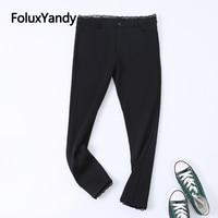 Warm Thick Winter Leggings Black Trousers Women Stretched Slim Skinny Lace Plus Size Leggings KKFY4265