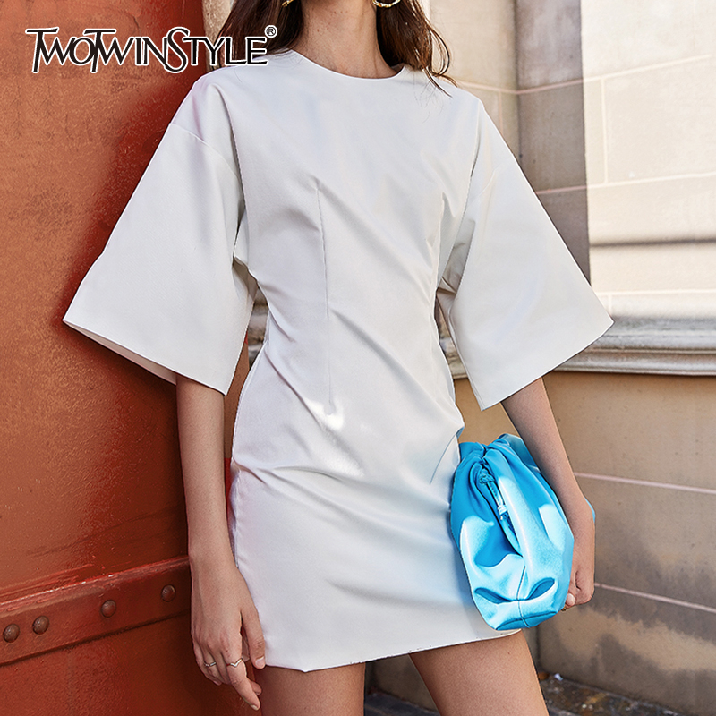 TWOTWINSTYLE Minimalist Style Summer Dress Women O Neck Half Sleeve High Waist Loose Mini Dresses For Female Fashion Clothes New