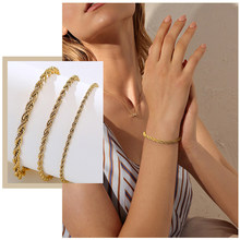 Simple 2/3/4/5mm Flash Twisted Rope Chain Bracelets for Women, Chic Stainless Steel Female Wrist Jewelry, Length Adjustable