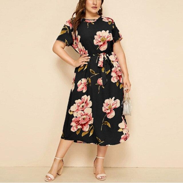 Plus Size Dresses For Women 2020 Casual Woman Dress O-neck Short Sleeve Print Waist Strap Dress Vestido De Mujer 1