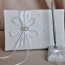 Свадебные присутствие гостей книга ручка держатель комплекты с двойным сердечком, украшенные бантом из имитации бриллиантов; украшение подпись книга свадебные принадлежности