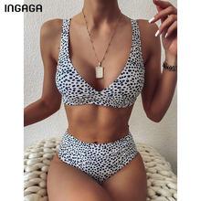 INGAGA-Bikinis de cintura alta para mujer, trajes de baño de realce, ropa de playa, Bikini envolvente con estampado de lunares, conjunto de Bikini 2021