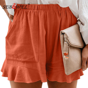 SEBOWEL Casual Shorts Women 2020 Summer Solid Color Female Plus Size High Waist Loose Pleated Ruffle Shorts with Pockets S-5XL casual women s satchel with zips and solid color design
