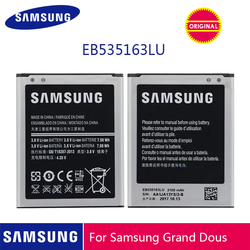 SAMSUNG Original Phone Battery EB535163LU 2100mAh For Samsung Galaxy Grand Duos I9082 I879 I9080 I9168 I9118 Neo+ I9060
