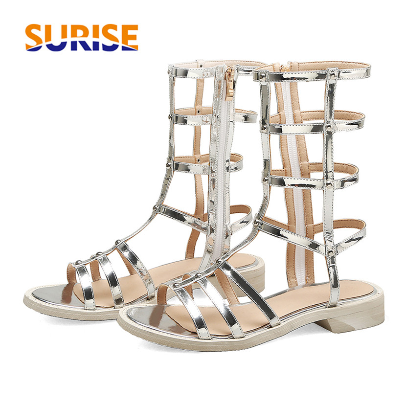 Plus Size Women Gladiator Sandals Low Square Heel Silver Black Patent Leather Casual Party Rivet Zipper Summer Rome Ladies Shoes