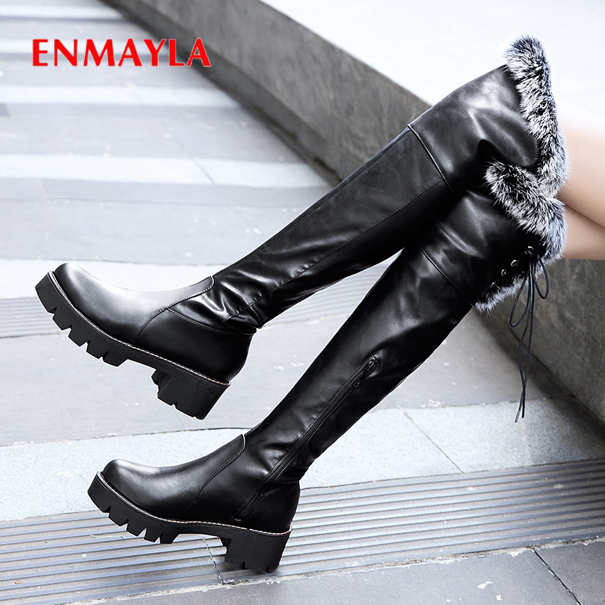 ENMAYLA Round Toe Med Faux Fur Thigh High Boot Lace-Up Winter PU Fretwork Heels Over The Knee Boots Solid Short Plush Shoes