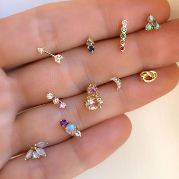 10Pcs Cute Mini Ear Studs Set Gold Color Arrow Flower Moon Shape Rhinestone Decor Bar Earings.jpg 350x350 - 10Pcs Cute Mini Ear Studs Set Gold Color Arrow Flower Moon Shape Rhinestone Decor Bar Earings Small Jewelry Gift