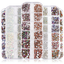Astrobox 1440pcs 12Grids High Quality Nail Art Rhinestone 네일 아트 크리스탈 라인 석 Crystal Rhinestone Glue On Nail Crystal Loose Stone