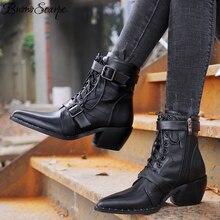Buono scarpe女性リベットブランドデザインオートバイブーツレースアップバックルアンクルブーツチャンキーヒール靴指摘ジッパーbota ş mujer