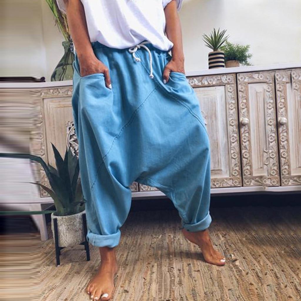 Women Baggy Harem Pants Solid Color Hippie Joggers Cross-pants Loose Trousers Aladdin Lantern Wide Leg Pants Plus Size #T1G