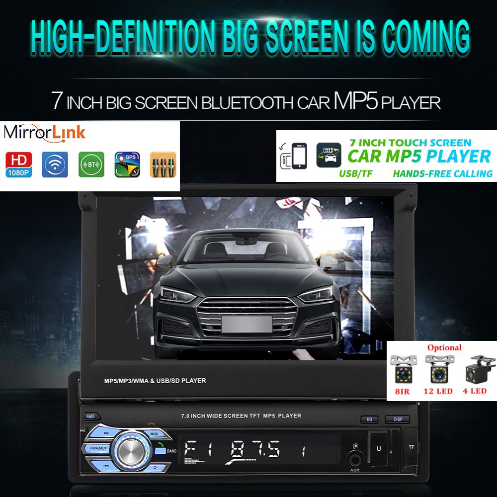 1Din Car Audio 9601 HD Digital 7 HD Retractable Touch Screen Stereo MP5 Player Rear View Camera Bluetooth Hands free Auto radio image