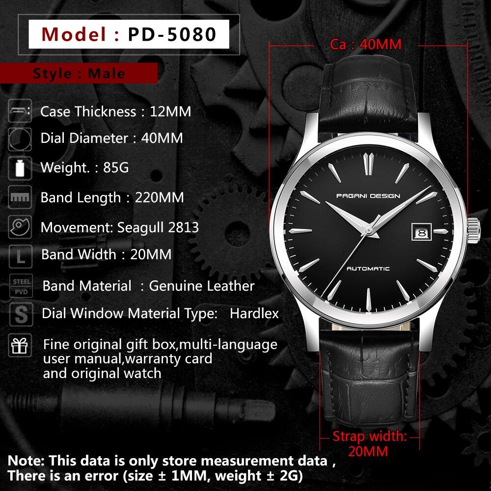 PAGANI Дизайн мужские классические механические деловые мужские часы водонепроницаемые часы мужские роскошные кожаные автоматические часы ... - 3